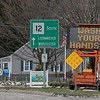 This sign at the intersection of North Main Street and Washington Street in Leominster tells people to stay safe and wash their hands. SENTINEL & ENTERPRISE/JOHN LOVE