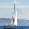 Sailboat under Mount Rainier in Washington's Puget Sound.
