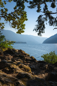 view from the shores of crescent lake in olympic national park