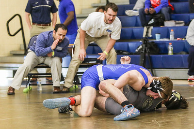 Brian Sweet of Bishop O'Connell High School in Arlington, (third place), defeated Conlin Frank of Paul VI Catholic High School in Fairfax, by a fall.