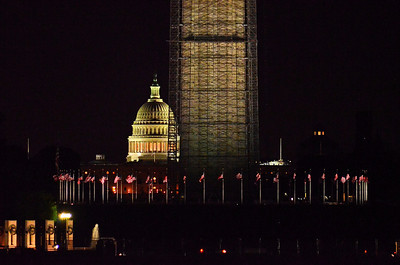 U.S. Capitol, Washington Monument, and WWII Memorial