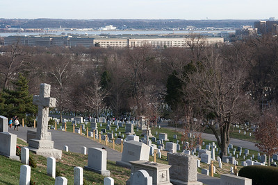 The Pentagon, above a field of graves at Arlington National Cemetary, right after Christmas 2013