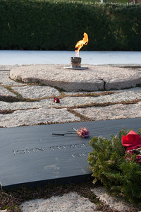 John F. Kennedy gravesite and eternal flame -- Arlington National Cemetary, right after Christmas 2013