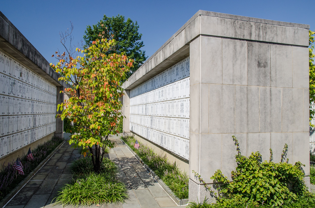 Typical niches in columbarium.