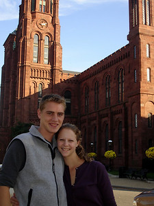 Rob and Emily in front of the Smithsonian Castle - Washington, DC ... November 5, 2005 ... Photo by Unknown Tourist