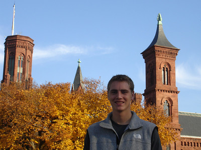 Rob and the Smithsonian Castle - Washington, DC ... November 5, 2005 ... Photo by Emily Conger