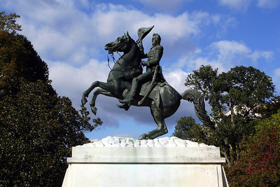 Jackson riding his horse in front of the White House - Washington, DC ... October 24, 2006 ... Photo by Rob Page III