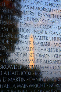 The Washington Monument reflects off of the Vietnam Wall - Washington, DC ... October 22, 2006 ... Photo by Rob Page III