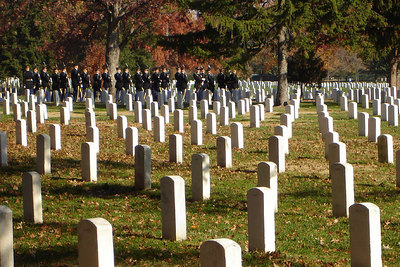 Soldiers at Arlington National Cemetary on Veteran's Day - Washington, DC ... November 11, 2006 ... Photo by Rob Page III
