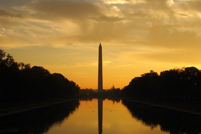The Washington Monument at sunrise on Veteran's Day - Washington, DC ... November 11, 2006 ... Photo by Rob Page III