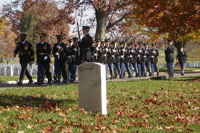 Soldiers in Arlington National Cemetary on Veteran's Day - Washington, DC ... November 11, 2006 ... Photo by Rob Page III