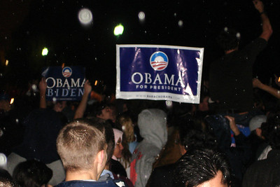 The revelry down by the White House after Obama's victory - Washington, DC ... November 4, 2008 ... Photo by Rob Page III