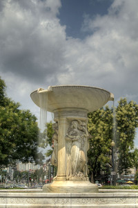 The Samuel Francis duPont Memorial Fountain in the center of Dupont Circle in Washington, DC,  on Sunday, August 17, 2014. Copyright 2014 Jason Barnette