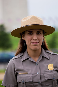 National Park Service Ranger Niki Williams speaks to reporters on the National Mall, in Washington, Tuesday, Sept. 27, 2011, as engineers begin their inspection of the Washington Monument for damage from the August 23 earthquake. Williams was on the observation deck when the earthquake struck and helped lead 20 visitors to safety via the staircase. (Photo by Jeff Malet)