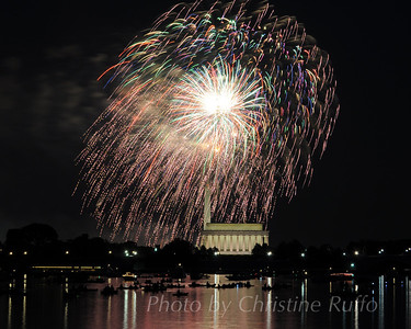 Kayakers and canoeists watch Washington, D.C.'s Independence Day fireworks show from the Potomac River.