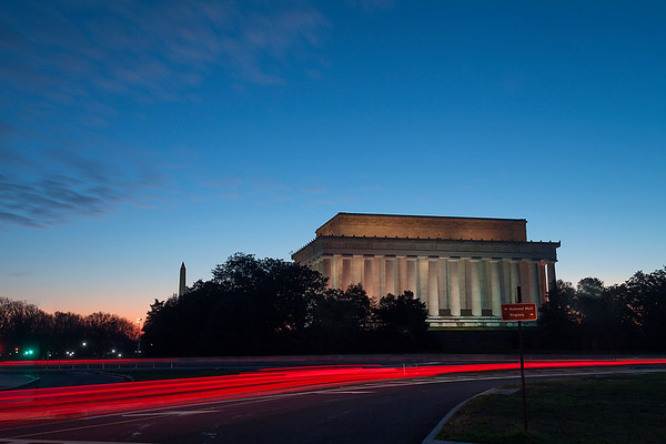 Lincoln Memorial Light Trail
