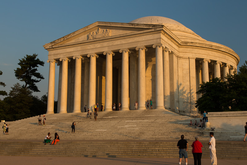 The Jefferson Memorial is bathed on golden light on a warm summer day. Washington, DC<br /> <br /> DC-120628-0141