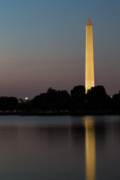 The Washington Monument at dusk seen from across the Tidal Basin. Washington, DC<br /> <br /> DC-120628-0205