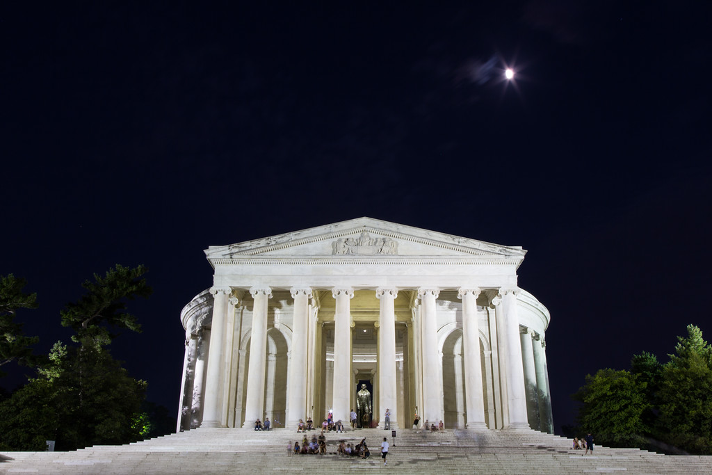 The moon shines over the Jefferson Memorial. Washington, DC<br /> <br /> DC-120628-0215