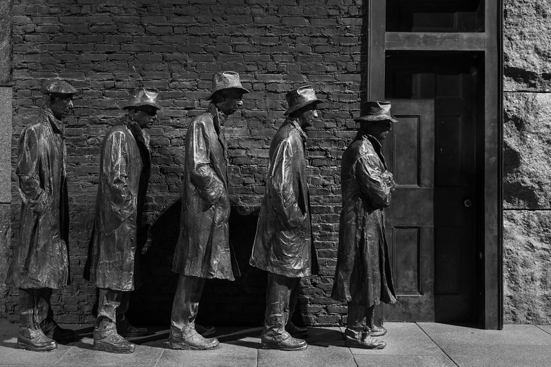Sculpture of a breadline in room 2 of the FDR Memorial. Washington, DC<br /> <br /> DC-120628-0223