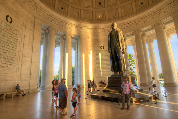 Warm light from sunset bathes the Jefferson Memorial in Washington, D.C. on Saturday, August 15, 2015. Copyright 2015 Jason Barnette