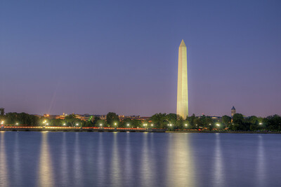 Night view of the Washington Monument across the Tidal Basin in Washington, D.C. on Sunday, August 16, 2015. Copyright 2015 Jason Barnette