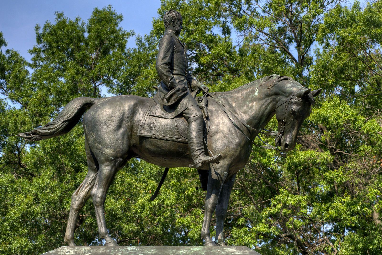 The bronze statue at the General William T. Sherman Memorial in President's Park in Washington, DC, on Saturday, August 16, 2014. Copyright 2014 Jason Barnette