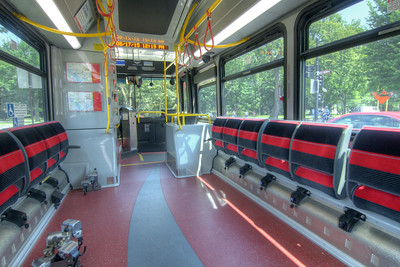 Folding seats for passengers on a DC Circulator bus in Washington, D.C. on Monday, August 17, 2015. Copyright 2015 Jason Barnette