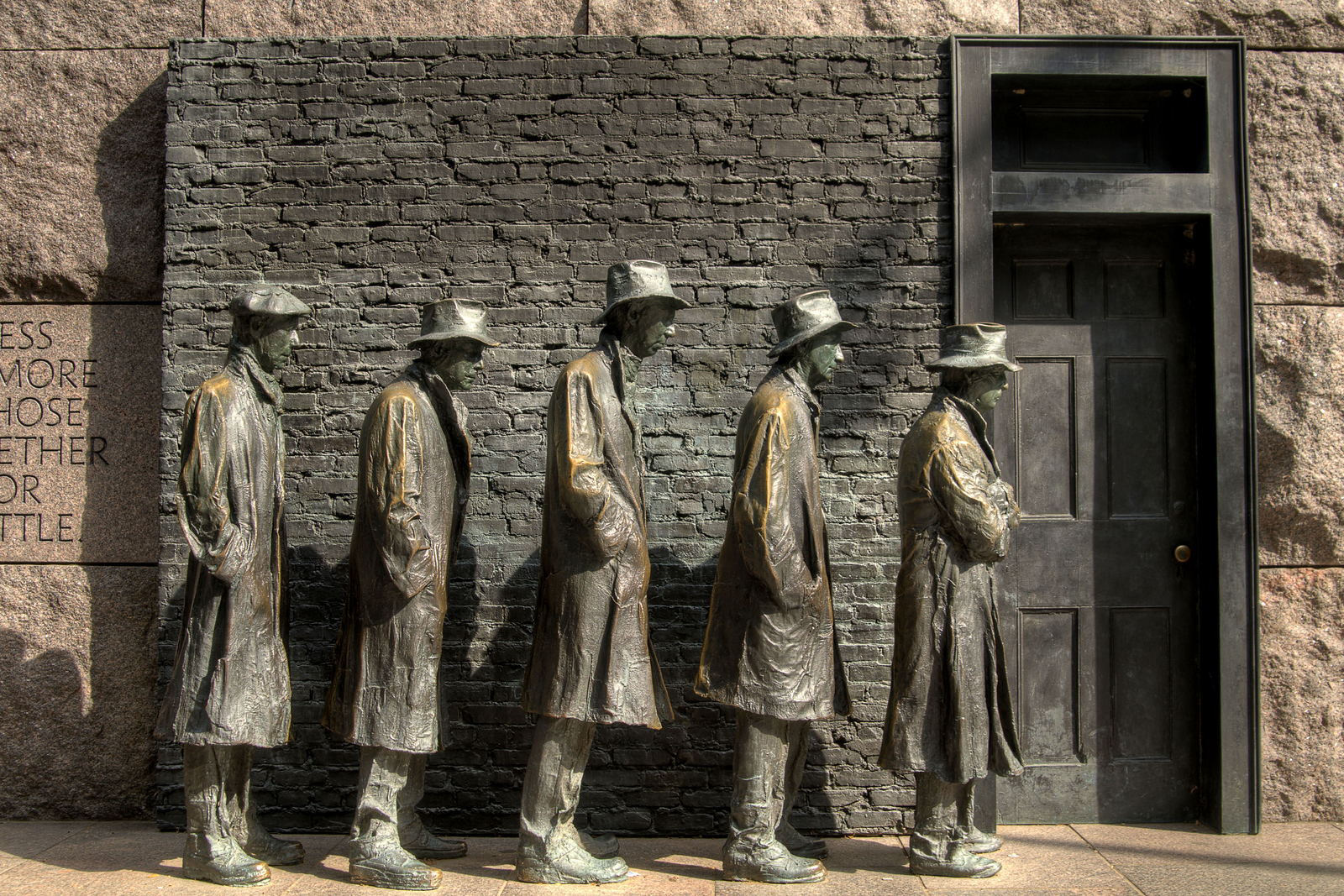 A set of statues depicting the Great Depression at the Franklin Delano Roosevelt Memorial in Washington, DC, on Sunday, August 17, 2014. Copyright 2014 Jason Barnette