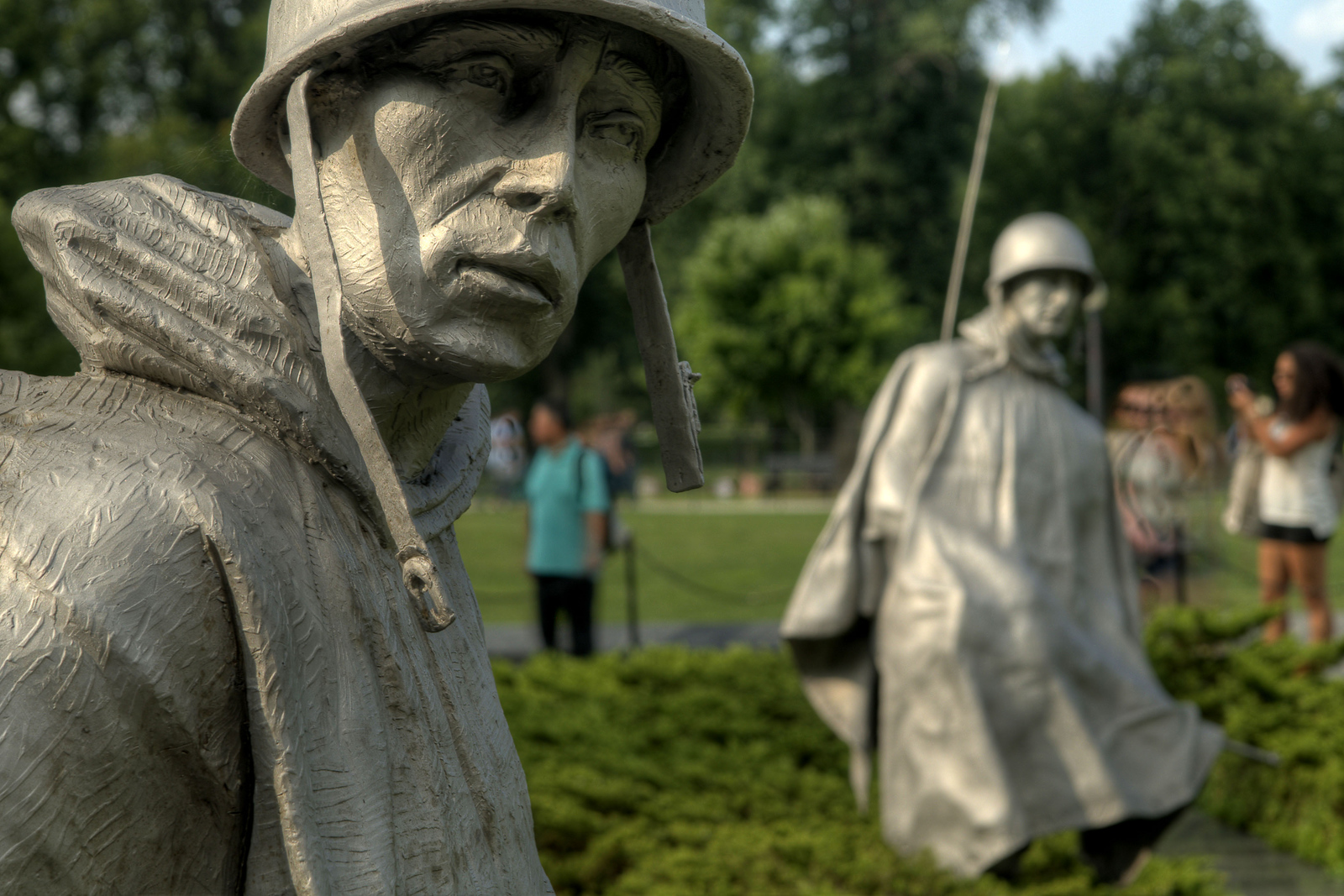 Individual statue soldiers at the Korean War Veterans Memorial in Washington, DC, on Sunday, August 17, 2014. Copyright 2014 Jason Barnette