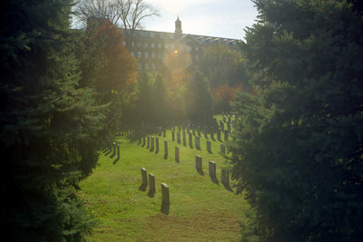 The Jesuit cemetary from the ICC area.  Unfortunately they have since built the Ryan building and this view is no longer there - Washington, DC ... October 2002 ... Photo by Rob Page III