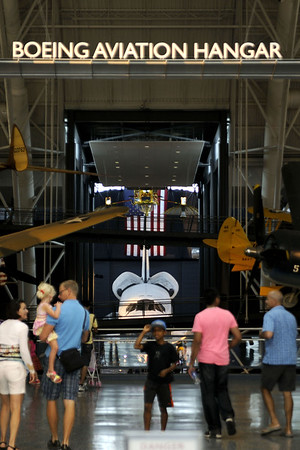The site of the Boeing Aviation Hangar as visitors enter the National Air and Space Museum Stephen F. Udvar-Hazy Center at Dulles International Airport in Chantilly, VA on Monday, August 18, 2014. Copyright 2014 Jason Barnette