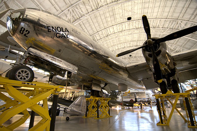 The Enola Gay, a Boeing B-29 Superfortress bomber that was famous for being the first aircraft to drop an atomic bomb on Japan during WWII, on display at the National Air and Space Museum Stephen F. Udvar-Hazy Center at Dulles International Airport in Chantilly, VA on Monday, August 18, 2014. Copyright 2014 Jason Barnette