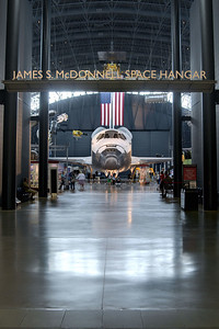 The James S. McDonnell Space Hangar, home to the space shuttle Discovery, at the National Air and Space Museum Stephen F. Udvar-Hazy Center at Dulles International Airport in Chantilly, VA on Monday, August 18, 2014. Copyright 2014 Jason Barnette