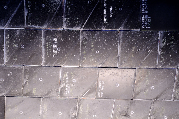 The heat-resistant tiles on the underside of the space shuttle Discovery in National Air and Space Museum Stephen F. Udvar-Hazy Center at Dulles International Airport in Chantilly, VA on Monday, August 18, 2014. Copyright 2014 Jason Barnette