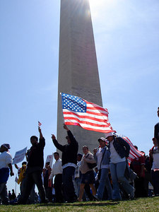 An Immigration march at the Washington Monument - Washington, DC ... April 10, 2006 ... Photo by Rob Page III