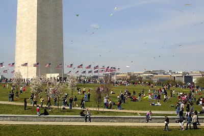 Flying kites on the National Mall next to the Washington Monument - Washington, DC ... March 31, 2007 ... Photo by Rob Page III