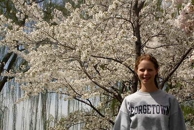 Emily and the cherry blossoms down by the Potomac - Washington, DC ... March 31, 2007 ... Photo by Rob Page III
