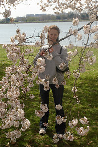 Emily and the cherry blossoms down by the Potomac River - Washington, DC ... March 31, 2007 ... Photo by Rob Page III