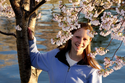 Emily, enjoying the cherry blossoms - Washington, DC ... April 2, 2008 ... Photo by Rob Page III