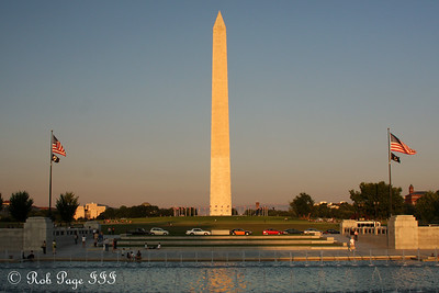 The Washington Monument rises above the World War II Memorial - Washington, DC ... September 1, 2009 ... Photo by Rob Page III