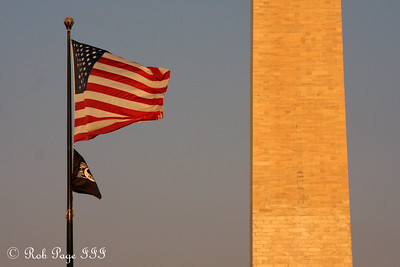 The American flag and the Washington Monument - Washington, DC ... September 1, 2009 ... Photo by Rob Page III