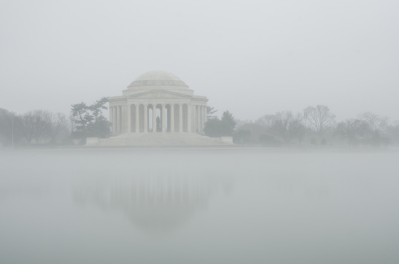 Jefferson in the Fog<br /> The Jefferson Memorial as seen across the Tidal Basin on a foggy January day.