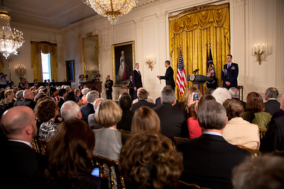 "President Obama awarded a 2010 National Medal of Arts and National Humanities Medal to Van Cliburn for his contributions as one of the greatest pianists in the history of music.  President Obama awarded the 2010 National Medal of Arts and National Humanities Medal to 20 honorees in the East Room of the White House on March 2, 2011 in Washington DC. The citation read ""The 2010 National Medal of Arts to Van Cliburn for his contributions as one of the greatest pianists in the history of music, and as a persuasive ambassador for American culture. Since his historic 1958 victory at the first International Tchaikovsky Competition in Moscow, Mr. Cliburn has reached across political frontiers with the universal message of beautiful music.""  (Photo by Jeff Malet)"