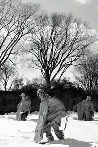 Korean War Memorial in snow.