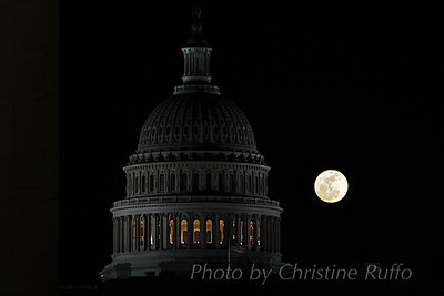 Supermoon behind U.S. Capitol