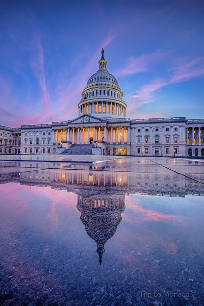 Capitol Building Sunset with Granite Reflection