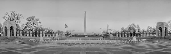 WWII Memorial and the Washington Monument Black & White