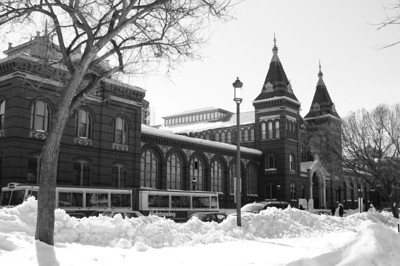 Arts and Industries Building in snow