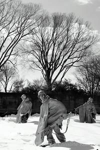 Korean War Memorial in snow.